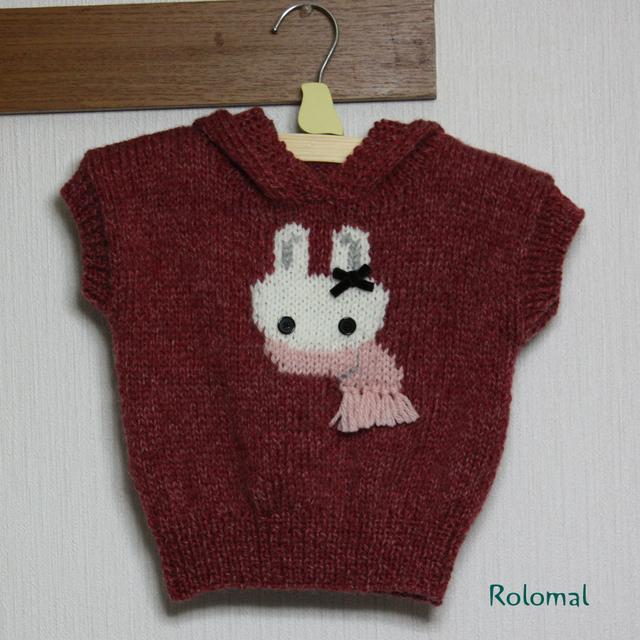 Kids 白ウサギの編み込みニット♪手編み...
