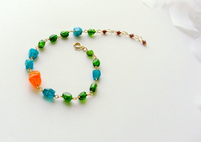 *14KGF orange chalcedony��vitamin color bracelet