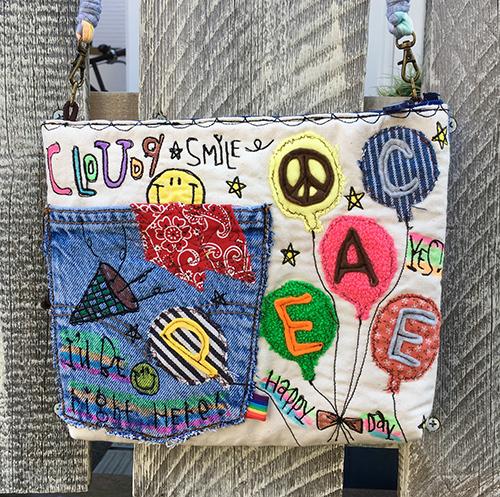 peace風船刺繍ショルダー