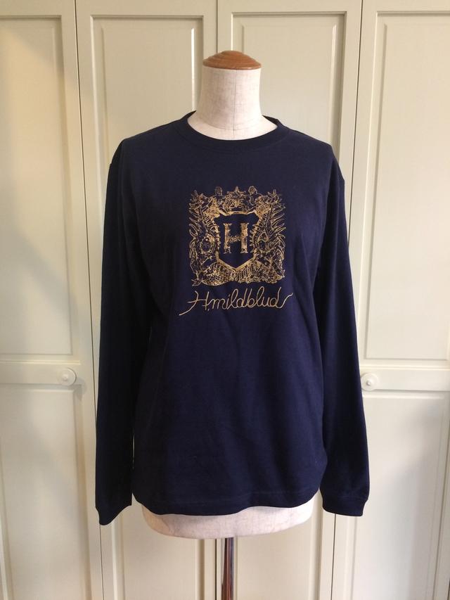 ラスト1点 Mサイズ・H.mildbludエンブレムロングTシャツ(ネイビー×金)