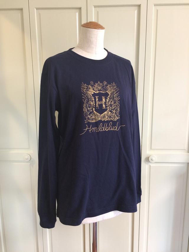 <完売中>Sサイズ・H.mildbludエンブレムロングTシャツ(ネイビー×金)
