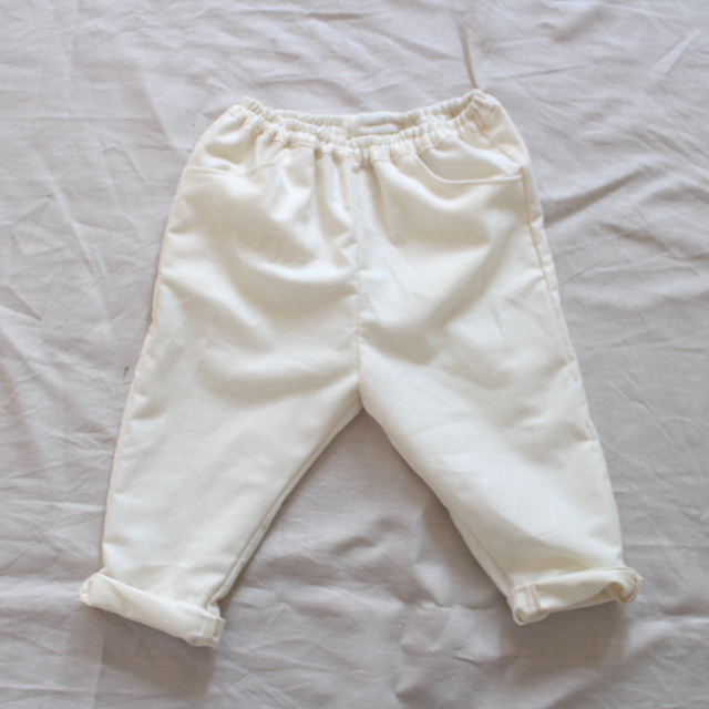 kids Flannel cotton pants --off white...
