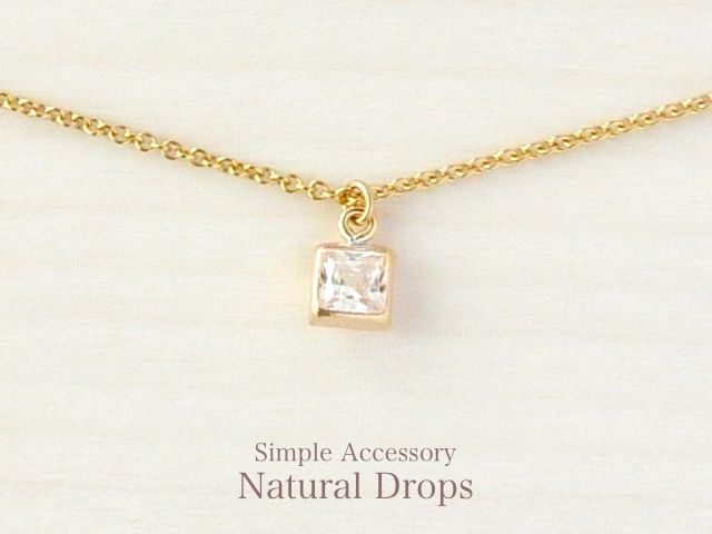 14kgf Square Zirconia Necklace������405