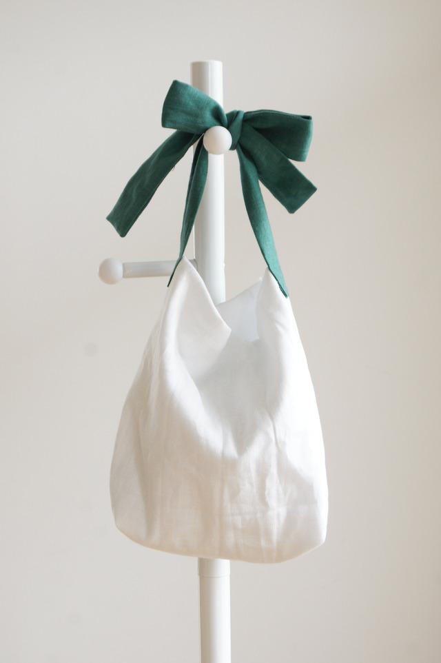 【M】リネンキルティングリボンのバッグ(グリーン)