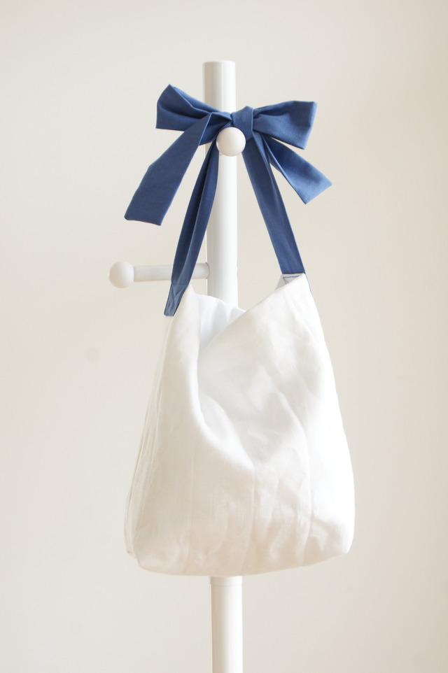 【M】リネンキルティングリボンのバッグ(ブルーグレー)
