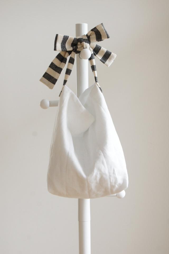 【M】リネンキルティングリボンのバッグ(ボーダー)