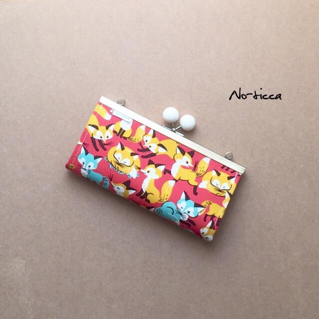 新作★2WAY見せ財布★北欧調キツネ柄長財布