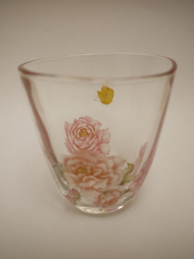 芍薬と蝶のグラス その2