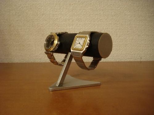 腕時計ケース!2本掛けブラックデザイン腕時計スタンド