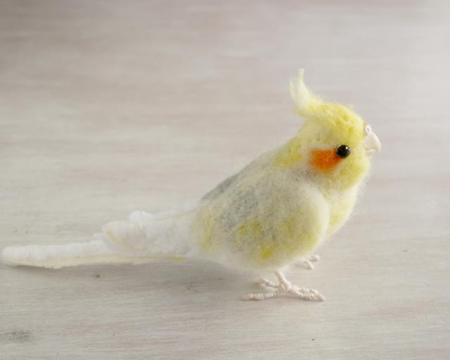 オカメインコ(羊毛フェルトの小鳥)