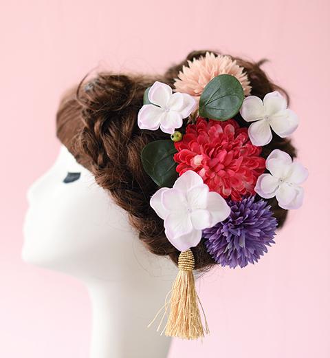 古典色の和装髪かざり