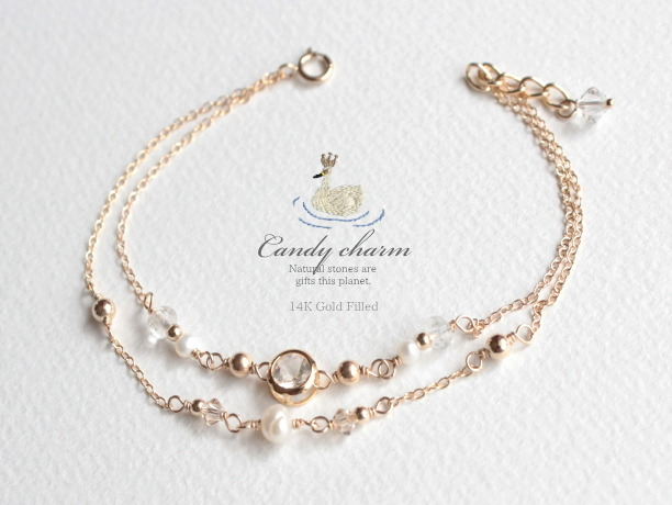 Candy charm Bracelet クリスタル 14KGF