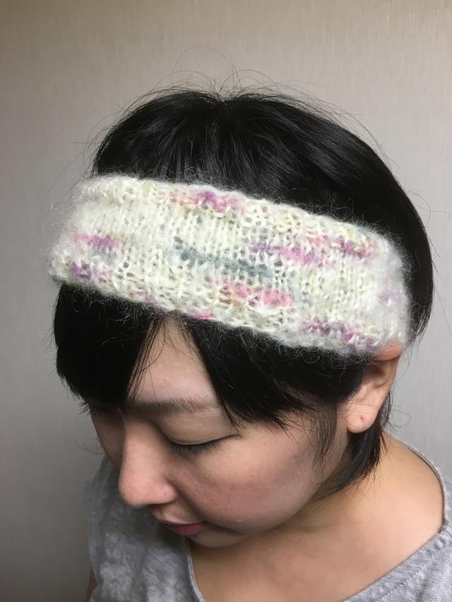 モヘアのヘアーバンド【ホワイト系】
