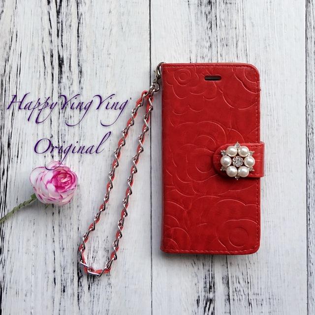 iphone7ケース花模様赤 チェーン付き真珠