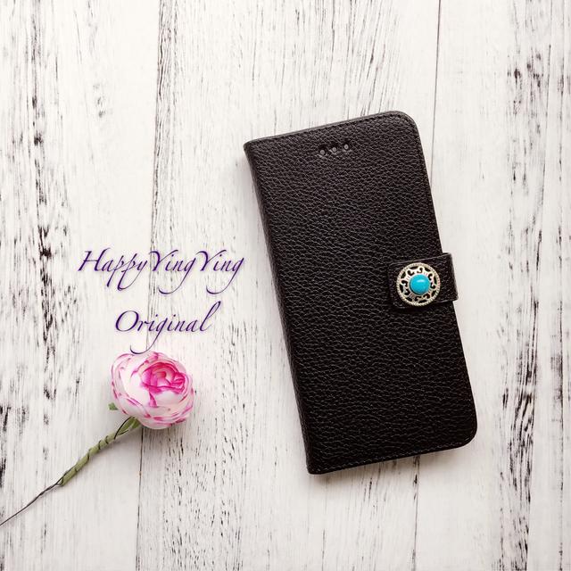 【iphone6Plus/6Splus】黒色レザー調ターコイズ手帳型 黒色
