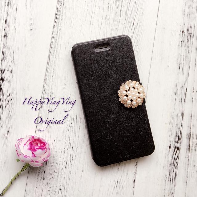 【iphone7/iphone6/5/Galaxy】大きいビジュー可愛いケース[黒大]
