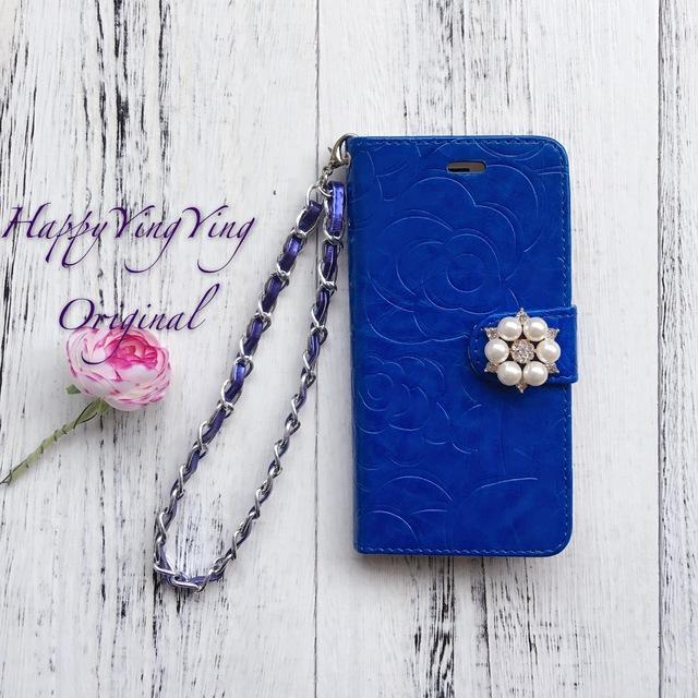 【iphone6Plus/6SPlus】花模様ブルー手帳型 チェーン付き