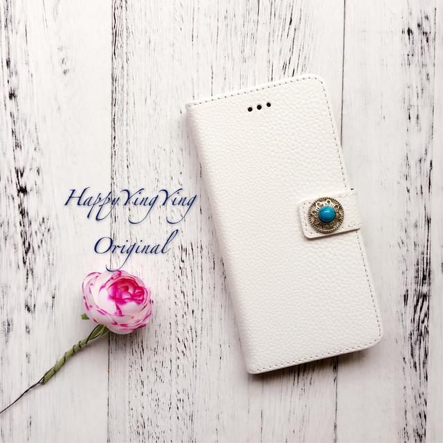 【iphone6/6S】白色レザー調ターコイズビジュー
