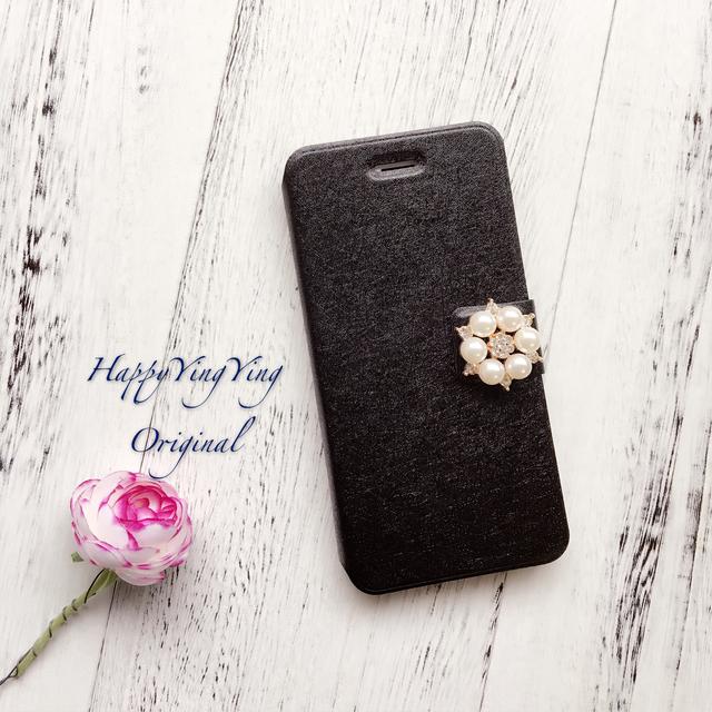 【iphone6/6S】お花ビジュー手帳型可愛いケース[6黒小]