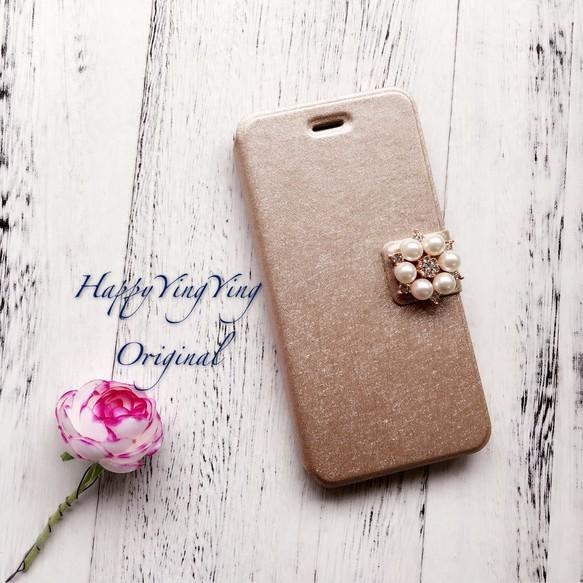 【iphone6Plus/6SPlus】小花ビジュー手帳型[plus金小]