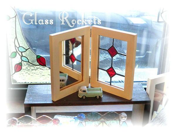 アンティークガラス ステンドグラス パネル 「ミラー」見開きタイプ