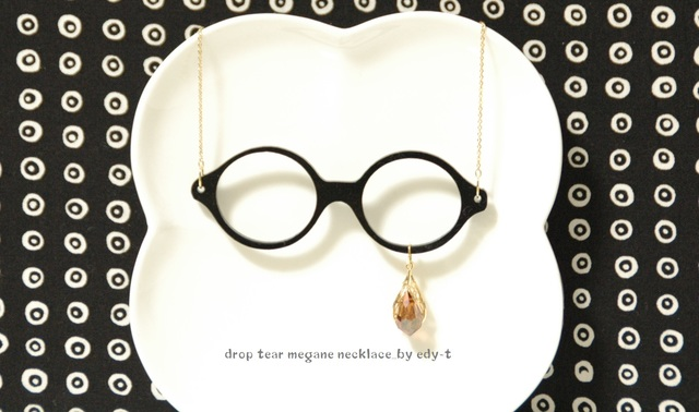 drop tear megane necklace/round black