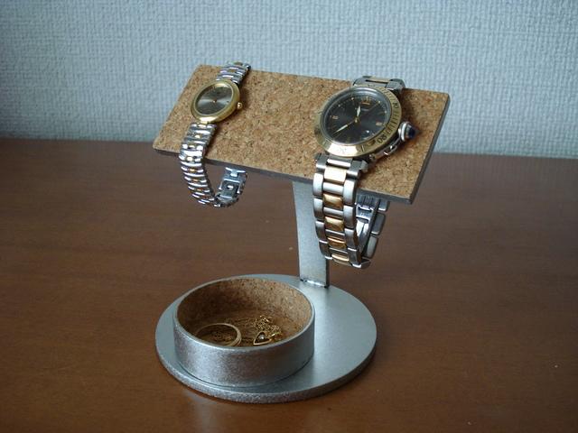 バー2本掛け腕時計スタンド丸トレイ付き   ak-design