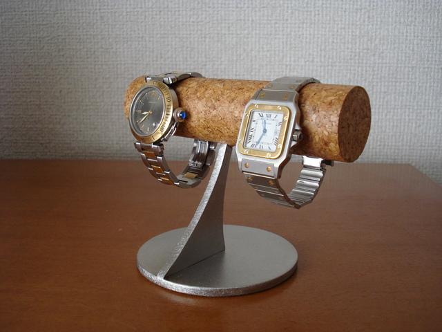プレゼントに! 女性用細い丸パイプコルク貼り小粒な腕時計スタンド    ak-design