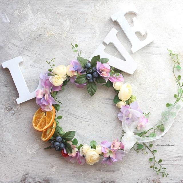 フルーツ花冠ラナンキュラス&スイトピー*バックガーランド付パープル系