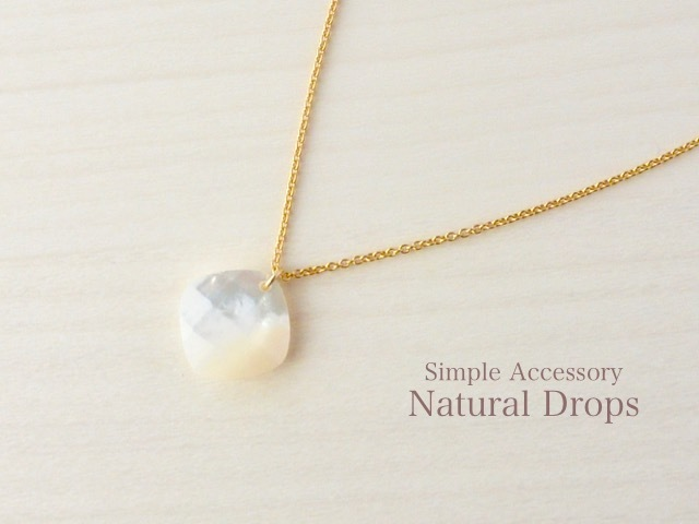 14kgf Square White Shell Pendant Neck...