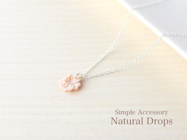 silver925 Flower Pink Shell Necklace...