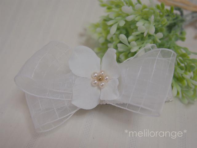お花とリボンのビッグクリップ* white ...