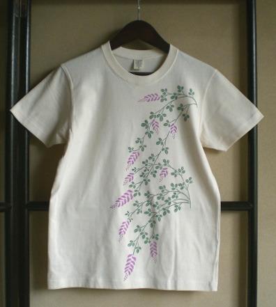 ピンクの萩が可憐なオーガニックコットンTシャツ