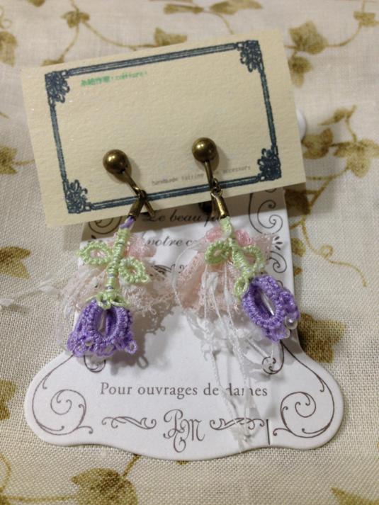 *タティングレースのイヤリング*薄紫の釣鐘草