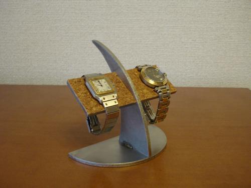 クリスマスプレゼントに!半円台コルクバー2本掛け腕時計スタンド  ak-desig