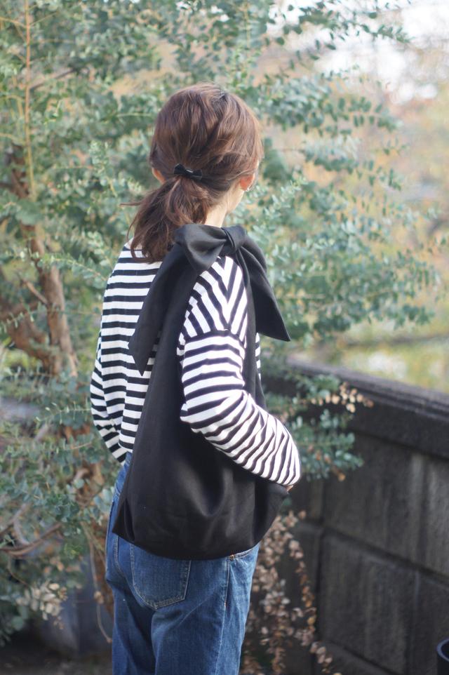 【再販】リネンタンブラーリボンのバッグ(ブラック)