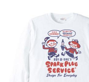 スパークプラグとBoy & Girl★アメリカンレトロ【片面B柄】長袖Tシャツ【受注生産品】