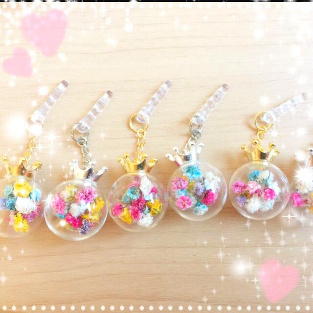 【スマホピアス】ガラスドーム クラウンキャップ(銀)