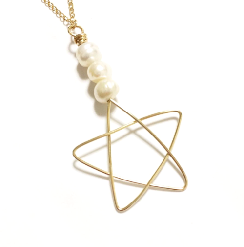 【送料無料】14kGF Star ☆ Pearl Necklace