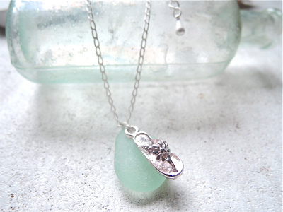 Gone to the beach---sea glass with flip flop-