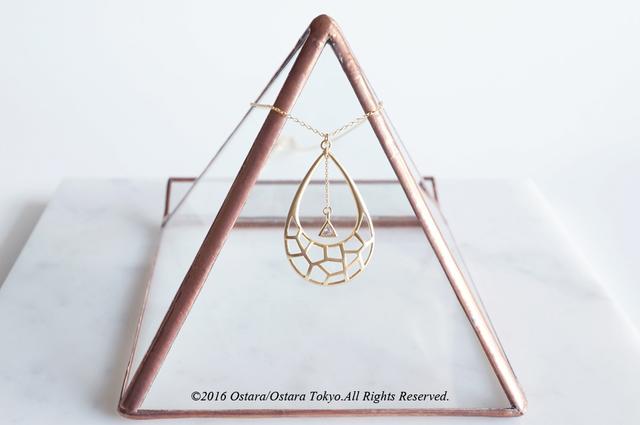 【14KGF】Long Necklace,Mat Gold Teardrop,Triangle CZ