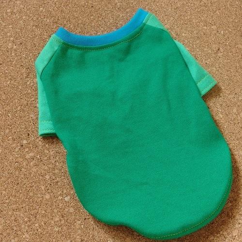 【S】グリーン系 綿のラグランTシャツ