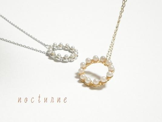 パールリングのネックレス〜Gold&Silver