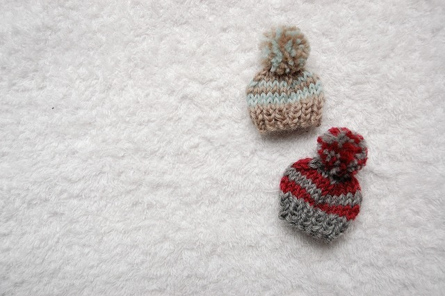 【masaki117さまリクエスト品】ニット帽ブローチ Knitted cap brooch ウール