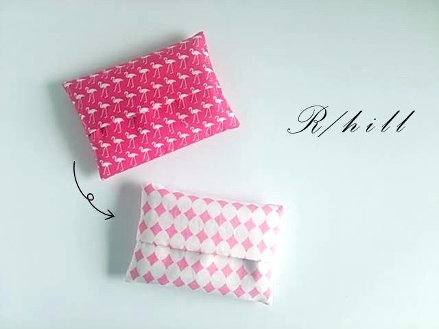 リバーシブル*ミニポケットティッシュケース*フラミンゴ柄×ピンクダイヤ柄