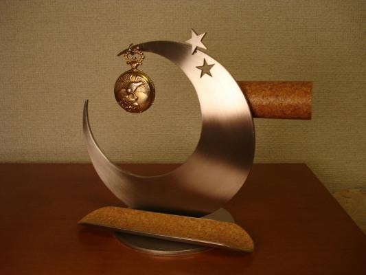クリスマスプレゼントに!三日月懐中時計&腕時計きまぐれスターアクセサリースタンド 丸パイプ トレイ付き ak-design