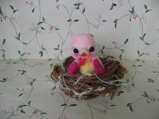 ※送料無料※巣で待つ小鳥(ピンク)