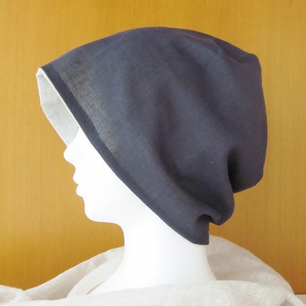 夏に涼しく下地にもなる ゆったりガーゼ帽子 紺/オリーブボーダー(CGR-005-KB)