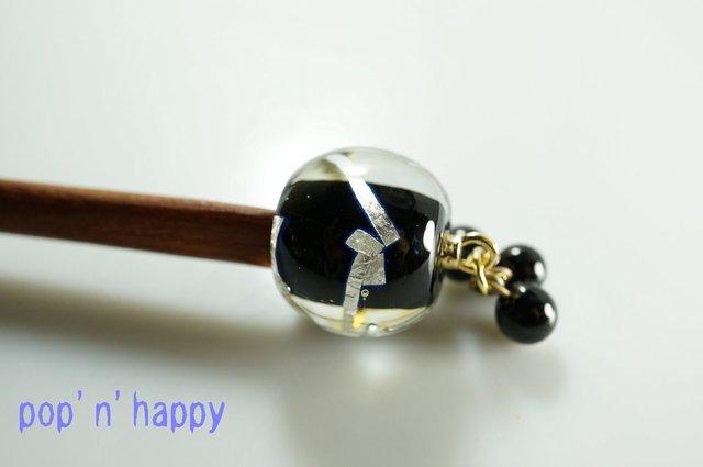 銀箔とんぼ玉・木軸かんざし(紫檀・黒)