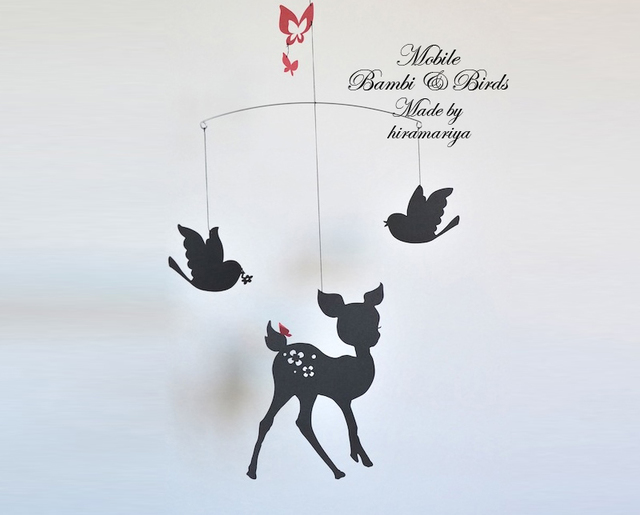 <再販>バンビと鳥と蝶のモビール (ブラック)